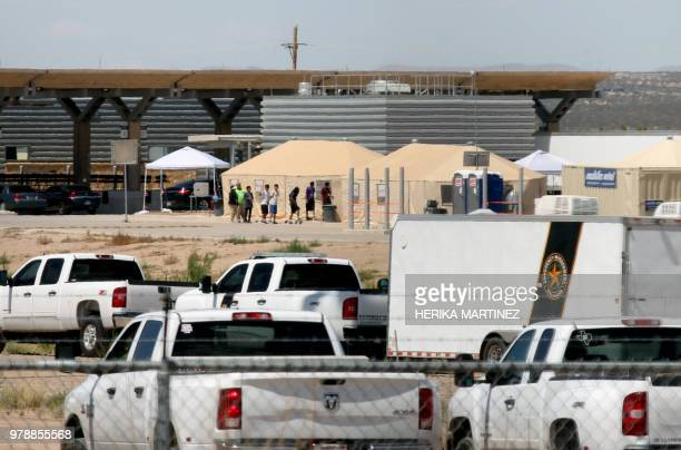 TOPSHOT View of a temporary detention centre for illegal underage immigrants in Tornillo Texas US near the MexicoUS border as seen from Valle de...