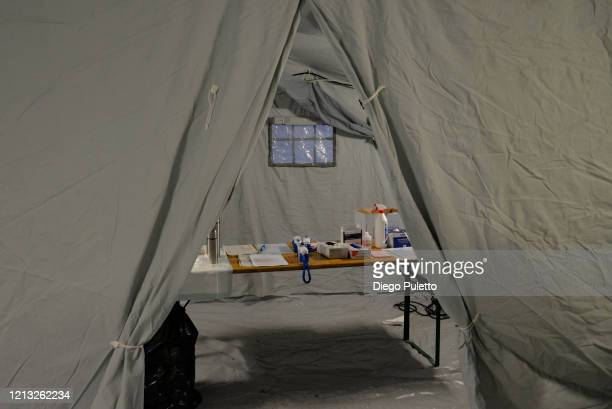 View of a temporary pre triage tent at the Molinette hospital during the nationwide lockdown to control COVID19 spread on March 17 2020 in Turin...