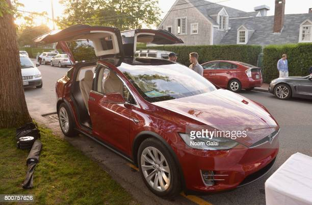A view of a Tesla car at 'Late Night Letters' during the 2017 Nantucket Film Festival Day 4 on June 24 2017 in Nantucket Massachusetts