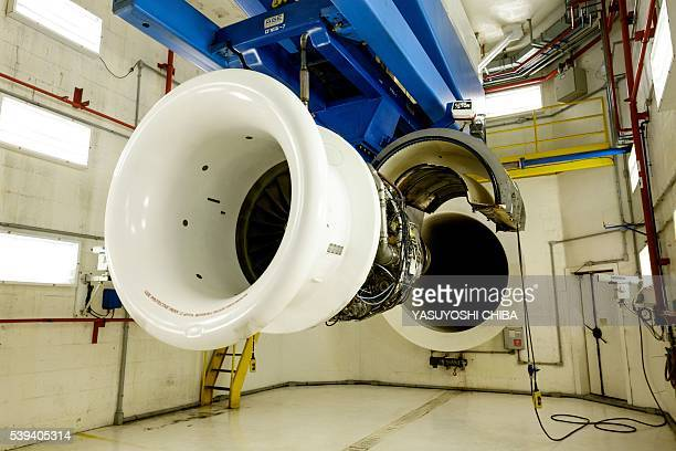View of a test chamber at General Electric Celma GE's aviation engine overhaul facility in Petropolis Rio de Janeiro Brazil on June 8 2016 / AFP /...