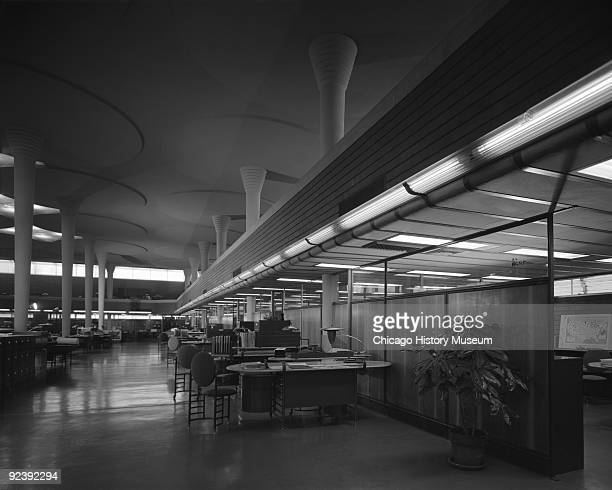 View of a thermoelectric air conditioning system at the Johnson Wax Building at 1525 Howe Street in Racine Wisconsin July 1964 Designed by Frank...