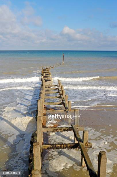 A view of a timber breakwater on the North Norfolk coast at Overstrand Norfolk England United Kingdom