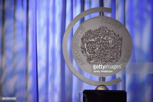 A view of a Tony Award decoration onstage during the 2018 Tony Awards Nominations Announcement at The New York Public Library for the Performing Arts...