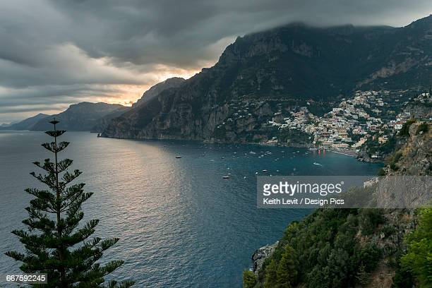 View of a town along the Amalfi coast