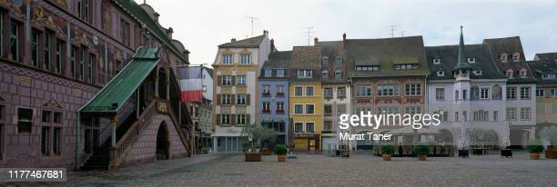 view of a town square in mulhouse - mulhouse stock pictures, royalty-free photos & images