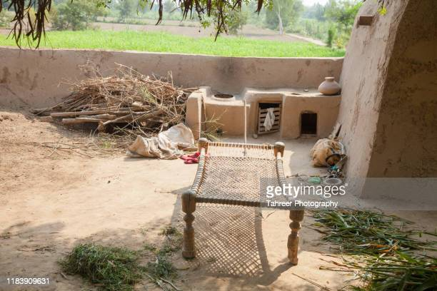 view of a tradiional punjabi mud house - punjab pakistan stock pictures, royalty-free photos & images