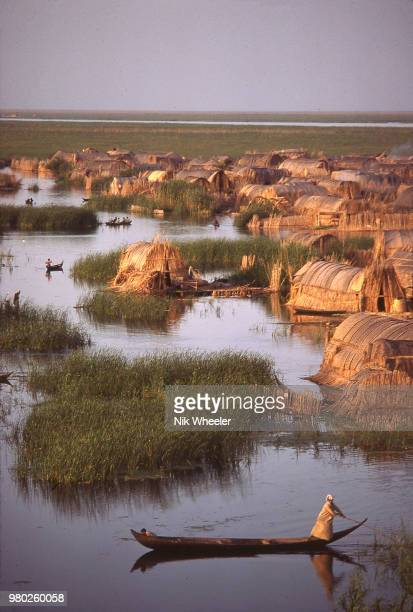 A view of a traditional Marsh Arab village of reed houses in the wetlands of Southern Iraq circa 1978