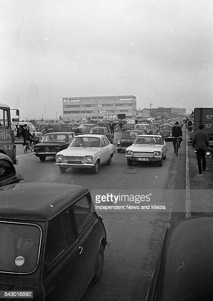 View of a traffic jam Dublin Ireland circa March 1971