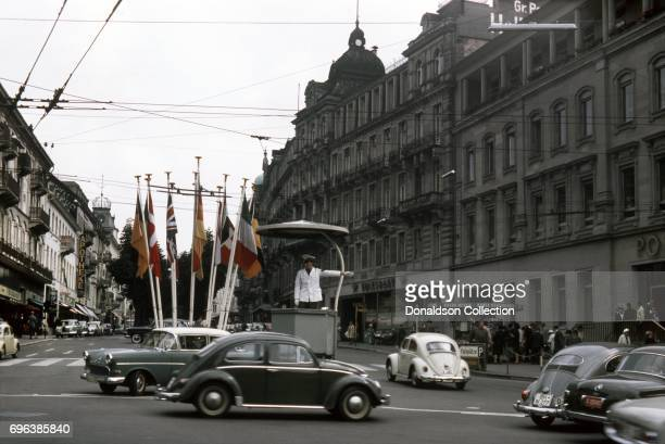 View of a traffic officer on a street on September 7, 1963 in Frankfurt, West Germany.