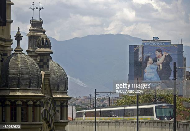 View of a train in Medellin Antioquia department Colombia on April 5 ahead of the World Urban Forum 7 which will take place in Medellin until April...