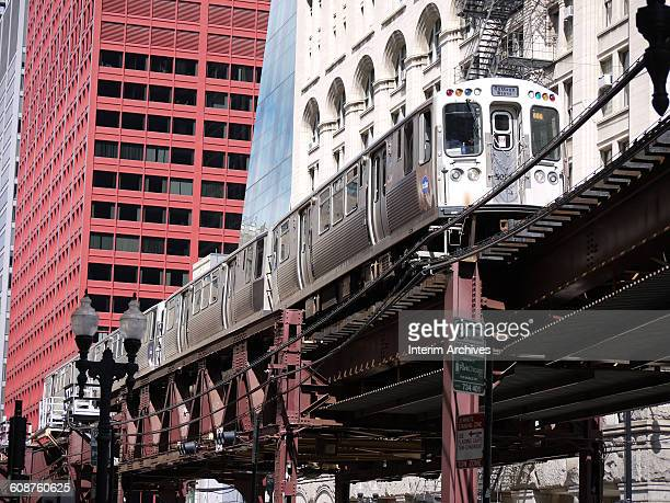 View of a train traveling on the elevated tracks known as The Loop Chicago Illinois 2015