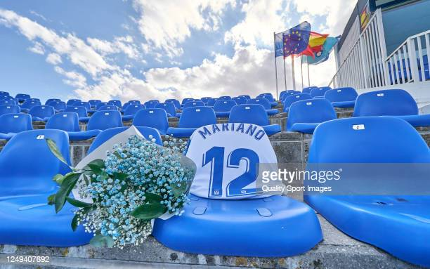 A view of a tribute of CD Leganes to one of their supporters who passed away during the pandemic ahead of the Liga match between CD Leganes and Real...