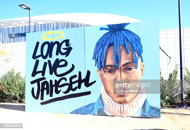 A view of a tribute to slain rapper XXXtentacion during day 2 of Rolling Loud Festival at Banc of California Stadium on December 15 2018 in Los...
