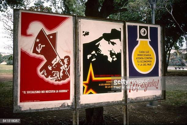 View of a trio of posters near a bus stop at the Plaza de la Revolucion Havana Cuba January 28 1983