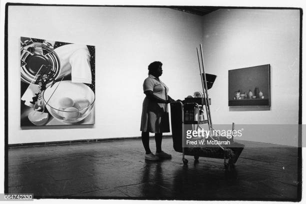 View of a trio of works on display during the Whitney Biennial New York New York February 20 1981 Pictured are from left James Rosenquist's painting...