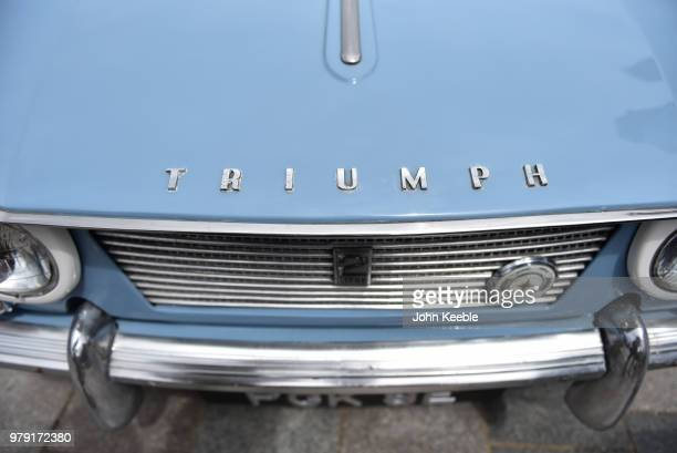 A view of a Triumph herald Vitesse chrome bonnet badge on display during the Southend Classic Car Show along the seafront on June 17 2018 in Southend...