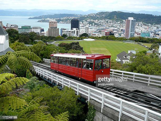 view of a trolley in wellington, new zealand - wellington new zealand stock photos and pictures