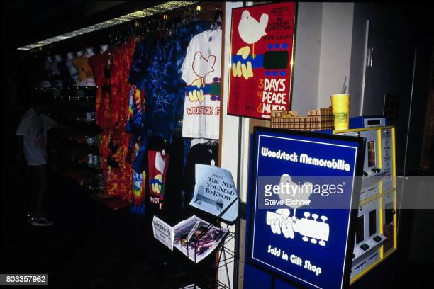 View of a t-shirt display in a shop during the Woodstock '94 festival, Saugerties, New York, August 14, 1994.