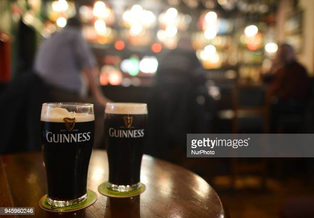 A view of a two pints of Guinness inside J O'Connell Dublin Pub On Friday April 13 in Dublin Ireland