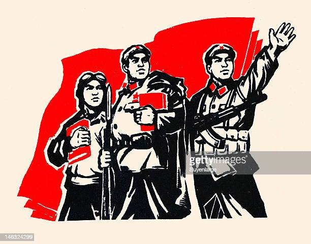 View of a twocolor woodcut entitled 'Three Proud Soldiers' in the original caption of Communist propaganda twentieth century