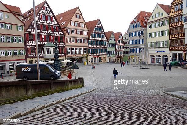 Ansicht eines typischen gepflasterten Straße in der mittelalterlichen deutschen Stadt