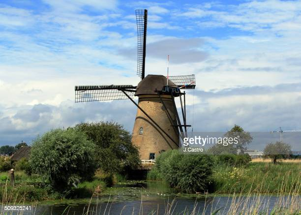 View of a typical dutch windmill in Kinderdijk The Netherlands