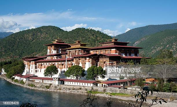 View of a typical house in Punakha Dzong, Bhutan