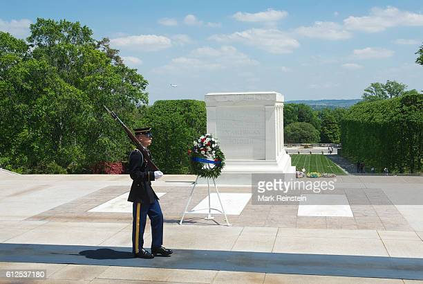 View of a uniformed guard at the Tomb of the Unknown Soldier at Arlington National Cemetery Arlington Virginia April 20 2012