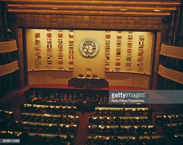 View of a United Nations Organisation conference in session at the Palais de Chaillot in Paris, France circa 1948.