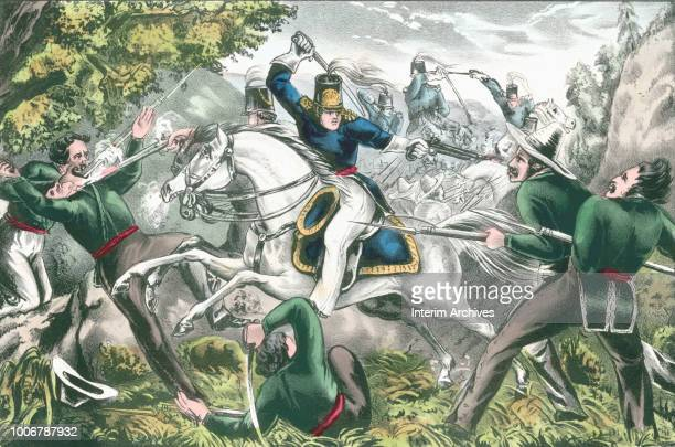 View of a United States dragoons or cavalrymen cutting their way trhough an ambush by Mexican soldiers during the Mexican-American War, 1847....