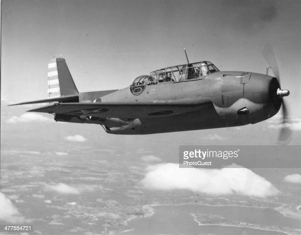 View of a US Navy Grumman Avenger torpedo bomber in flight 1943