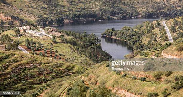 View of a valley with a barrier lake on King Talal Dam on April 08 2016 in Amman Jordan