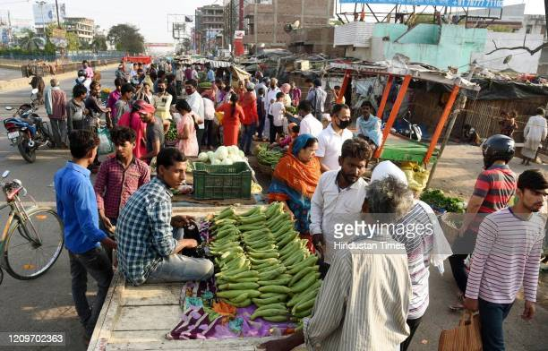 A view of a vegetable market at Bailey road during day fifteen of the 21 day nationwide lockdown to curb the spread of coronavirus on April 8 2020 in...