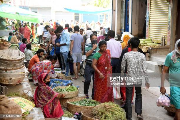A view of a vegetable market on day fourteen of the 21 day nationwide lockdown to curb the spread of coronavirus at Danapur on April 7 2020 in Patna...
