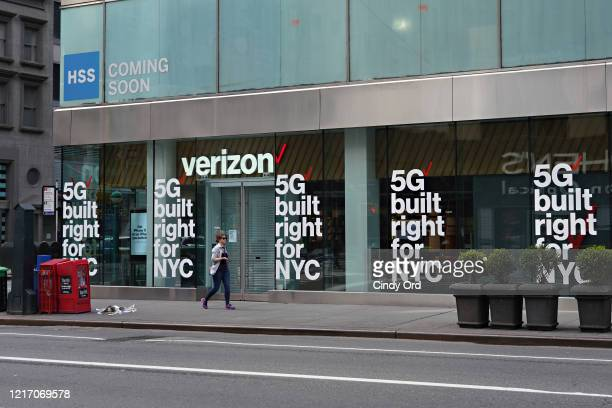 A view of a Verizon store advertising 5G amid the coronavirus pandemic on April 05 2020 in New York City COVID19 has spread to most countries around...