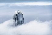 View of a very foggy Hong Kong