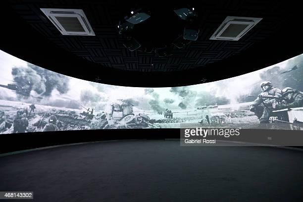 View of a video display at Malvinas e Islas del Atlántico Sur Museum on March 28 2015 in Buenos Aires Argentina On April 02 1982 Leopoldo Fotunato...
