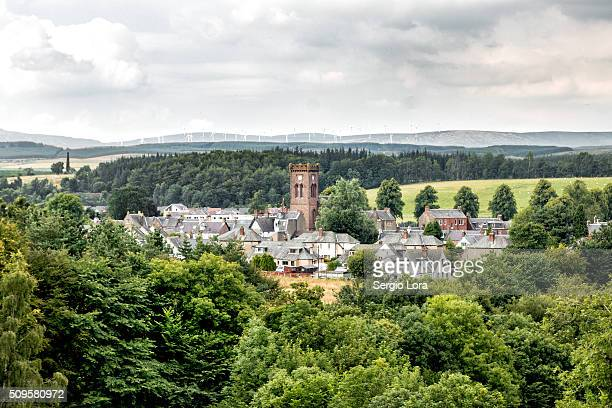 view of a village in a forest - stirling stock pictures, royalty-free photos & images