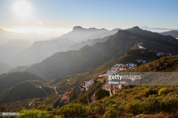 view of a village in artenara, gran canaria. canary islands, spain. - grand canary stock pictures, royalty-free photos & images