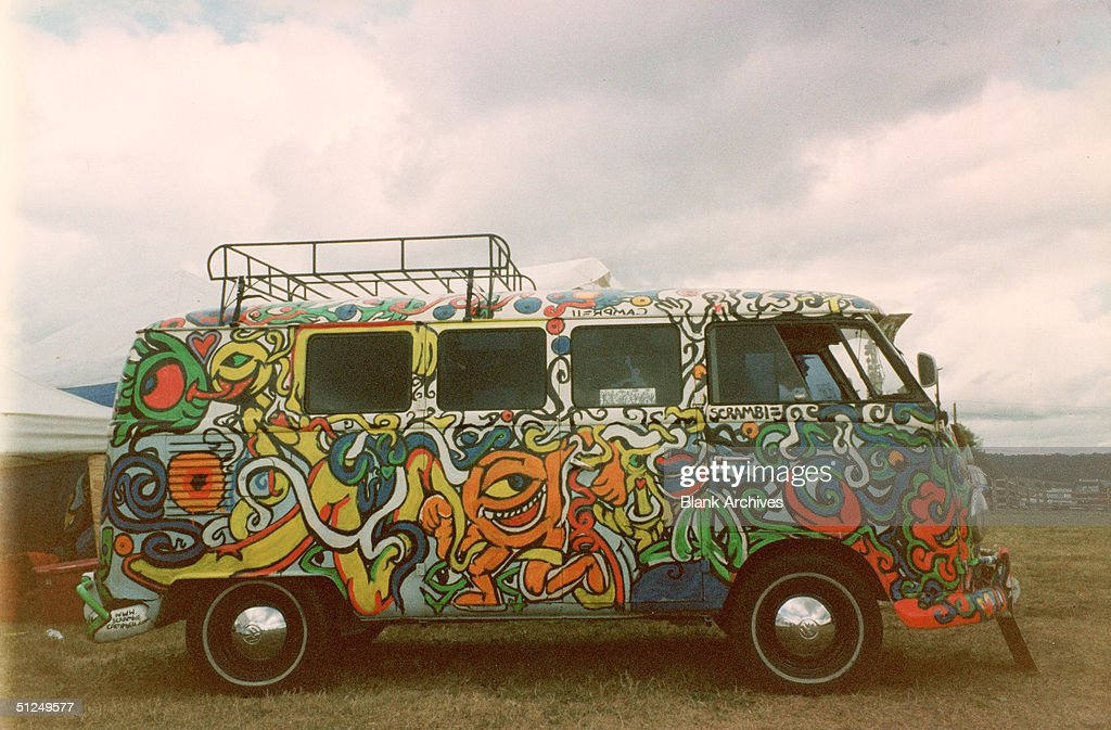 View of a Volkswagon van painted by Florida-based artist 'Scramble' and modeled after psychedelic art from the 1960s, mid 1990s.