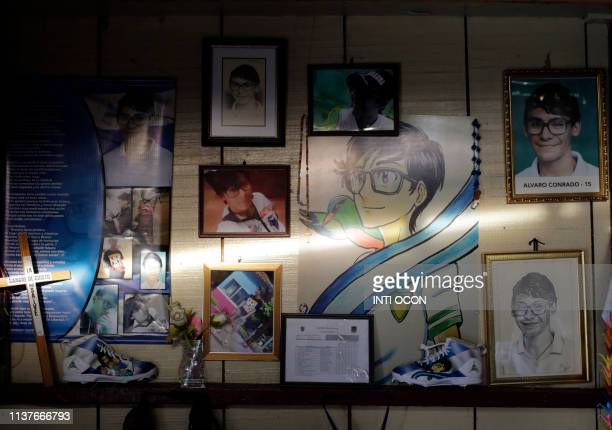 View of a wall decorated with pictures and drawings of late high school student Alvaro Conrado the first underage demonstrator killed during...