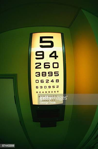 view of a wall mounted illuminated eye chart - eye test chart foto e immagini stock