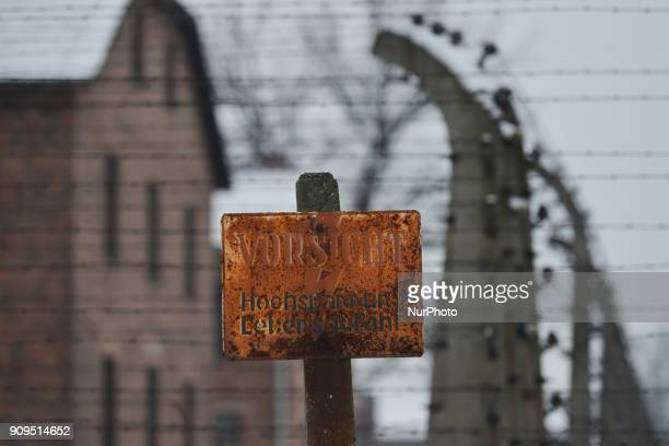 A view of a warning sign in German inside Auschwitz 1 German Nazi concentration and extermination camp just a few days ahead of the 73rd anniversary...