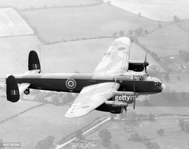 A view of a wartime Lancaster bomber in flight Circa 1950