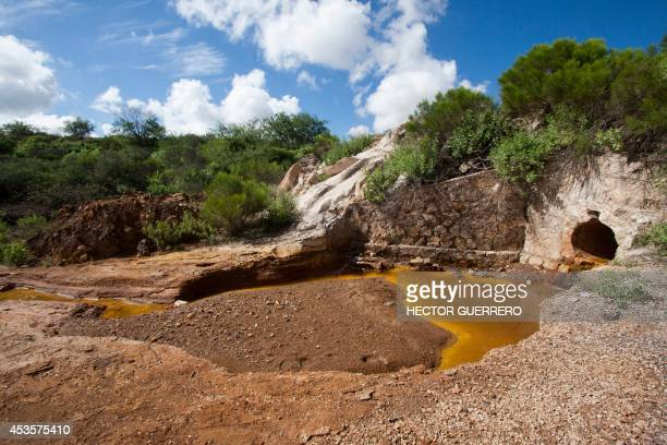 View of a water drain in the surroundings of the Buena Vista copper mine in Cananea community Sonora state Mexico on August 13 from which five days...