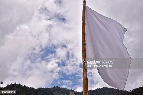 View of a white flag on August 26 in San Miguel, Tolima department, Colombia, one of the 22 areas where FARC former rebels will be relocated after...