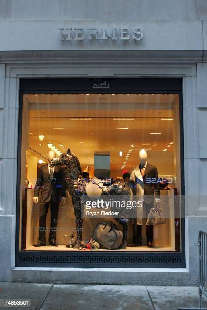 A view of a widow display at the opening of the Hermes store on Wall street on June 21 2007 in New York City