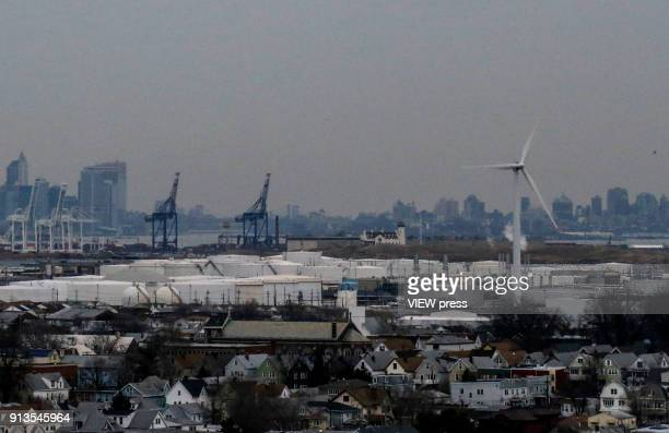 A view of a wind turbine is seen from Bayonne Bridge as the New York City Skyline is seen on the background on February 01 2018 in Bayonne New Jersey...