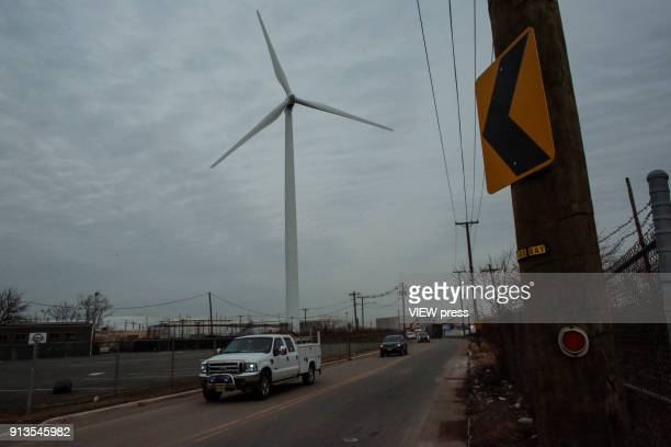 A view of A wind turbine is seen on February 01 2018 in Bayonne New Jersey The White House is seeking deep cuts to the Energy Department office...
