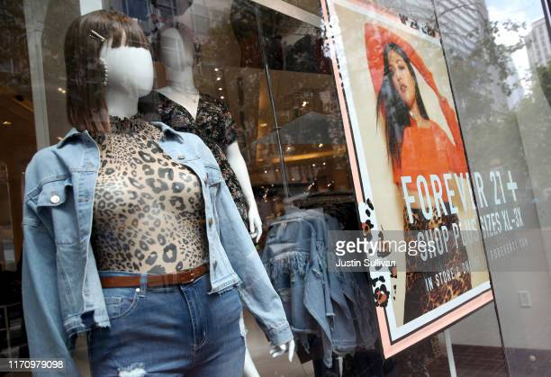 View of a window display at a Forever 21 store on August 29, 2019 in San Francisco, California. Forever 21 Inc. Is preparing for bankruptcy filing as...
